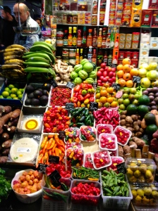 """Typical """"farmer's market"""" fruit and vegetable stand in Spain."""