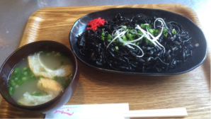 Squid ink noodles, an Okinawan-style dish, Japan